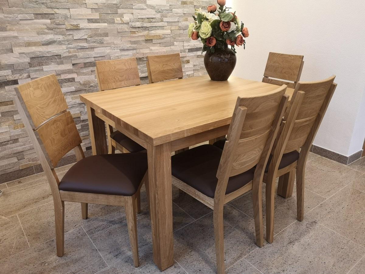 stół z krzesłami dębowe