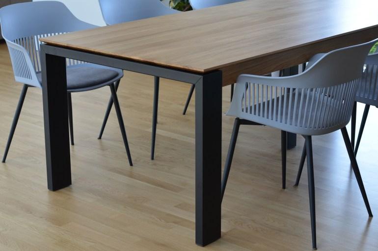 stół dębowy rozkładany metalowe nogi