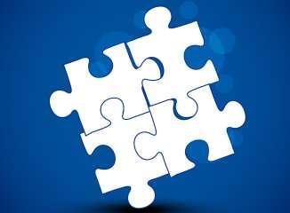 puzzle pieces blue background