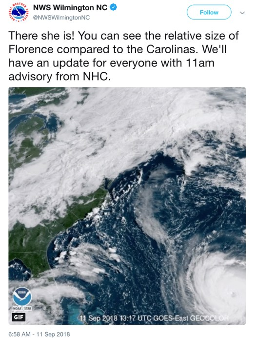 Florence Versus Size of the Carolinas