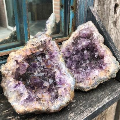 amethist cluster ruw groep brazilie mineralen