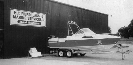 Edencraft 565 sits on trailer at Harry Twikler's H.T Fibreglass & Marine Services boat building facility