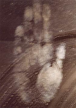 The handprint of Maitreya manifested in 2001 on a mirror in Barcelona, Spain. By placing your hand over the photo, or simply looking at it, Maitreya's healing can be invoked.