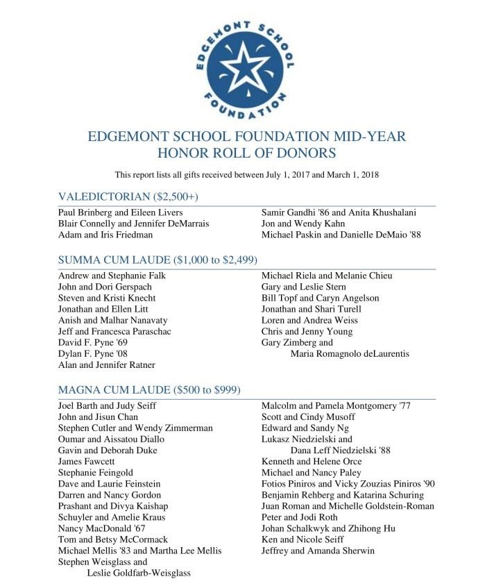 News – Edgemont School Foundation