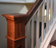 Front Steps Railings And Newel Posts « Edgewater Woodwork   Shaker Style Newel Post   Shingle Style   Baluster   Pressure Treated   Square   Railing
