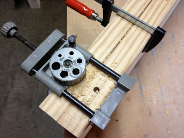 Using a dowel jig to make the benchtop