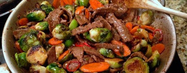 Brussels sprouts and steak stir fry