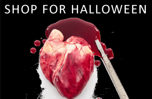 Shop for halloween banner with image of chocolate human heart with fake blood and scalpel