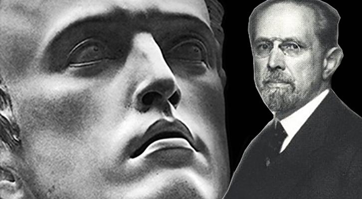 Werner Sombart con di fronte un particolare della scultura di Arno Breker, L'Uomo Attivo
