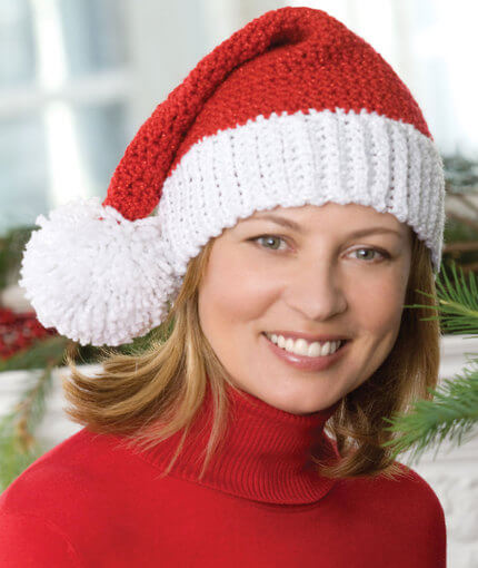 Free Crochet Pattern Red Heart Santa Hat