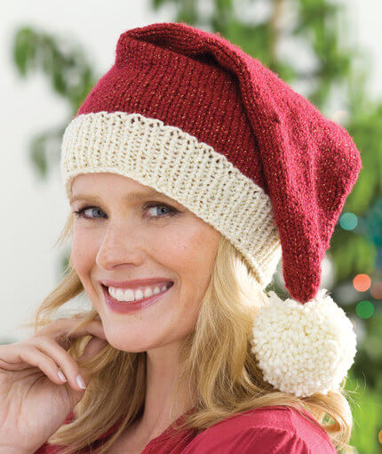 free knit pattern Red Heart Santa hat
