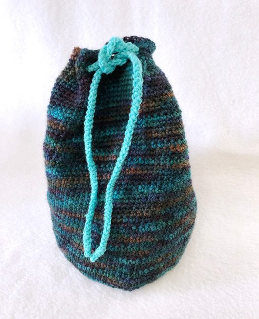 Crocheted Drawstring Bag with Teal accent