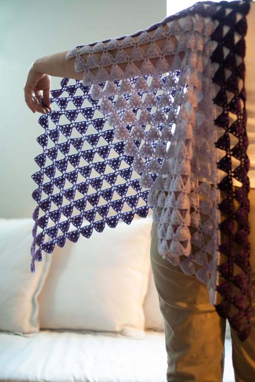 Eulerian Triangles Shawl Crochet Pattern by Edie Eckman view 2