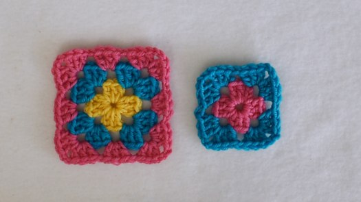 Two granny squares: one complete and one incomplete