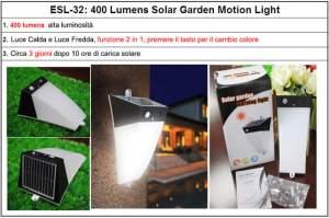 FARETTO LED SOLARE 3.5W CON SENSORE DI MOVIMENTO IP65 PER ESTERNO 400LM
