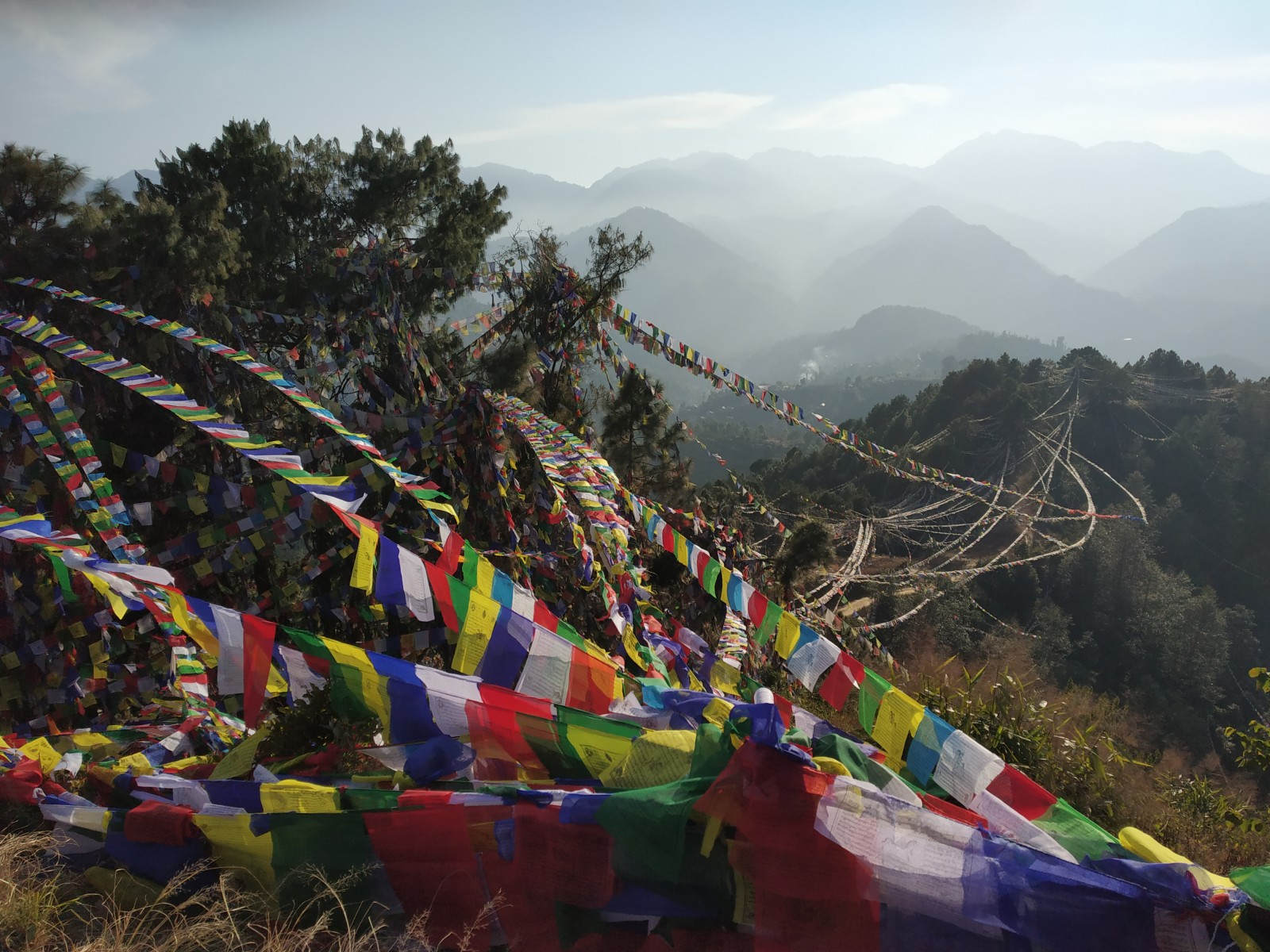 Prayer flags at Namo Buddha sending blessings around the world