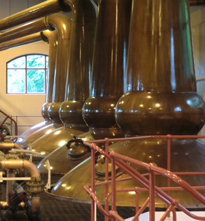Stills in the Glenrothes Distillery