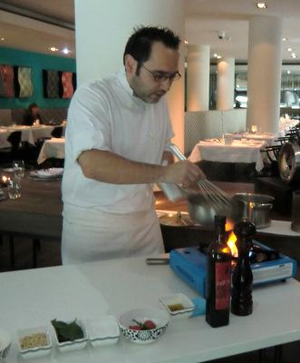 Mattia Camorani creating the sauce for the pasta