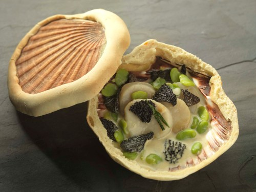 Martin Wishart's scallop baked in a shell