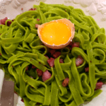 Carbonara made with spinach pasta - colourful and tasty.