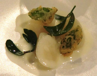 Dumplings of turnip in Westcombe cheese, radish, alexanders and rock samphire