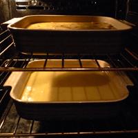 Two farinatas, cosy in a hot oven.