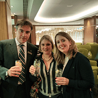 Tristan, Jemma and Emma raising a gin to the future of the Sheraton Social Hour