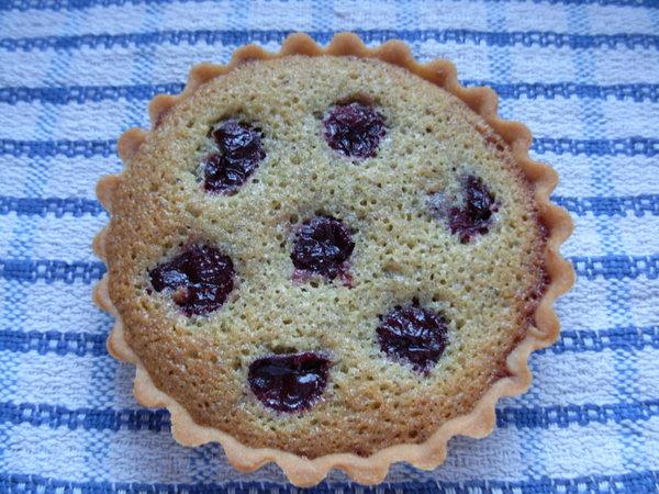 Sour cherry and pistachio tartlet