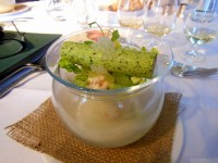 "Crab cannelloni, smoked cauliflower custard, lemon pearls, coriander paird with 28 year old ""Cottage garden beside a church"""