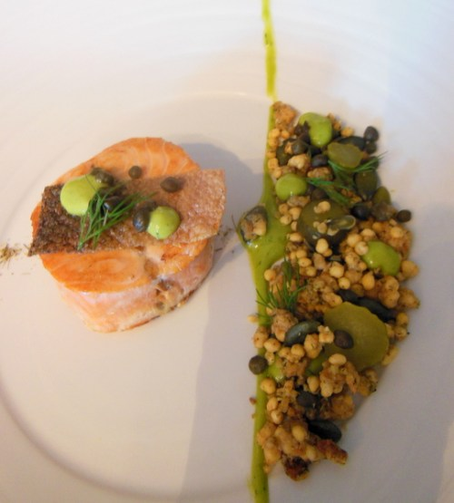 "Salmon Ballotine: Treacle, crispy skin, dill milk, granola, tartar sauce paird with 28 year old ""Good clean creamy fun"" malt"