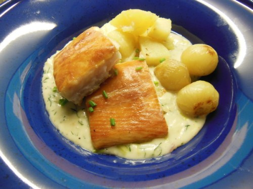 Sous vide smoked Gigha Halibut and Herb Sauce