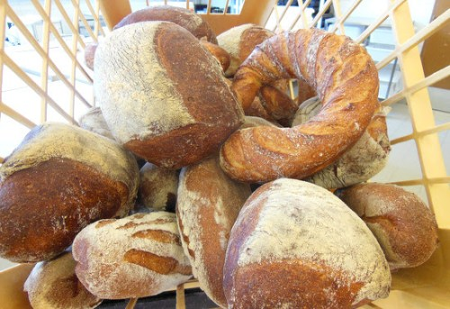Sesame, Briare and Coeur de Lin: The two oddly shaped dark loaves are cut from a 2kg piece of dough and sold by weight