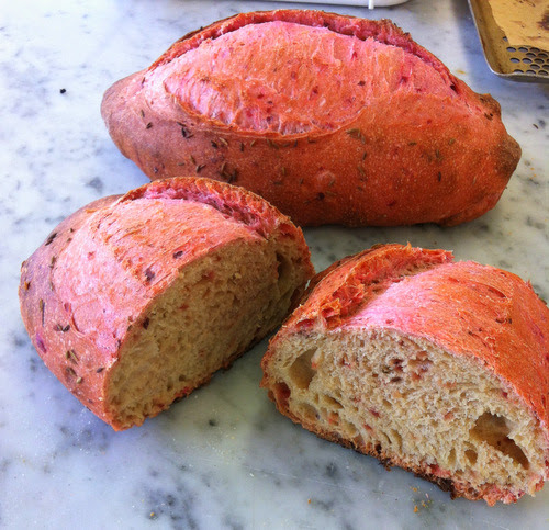 No, your eyes are not deceiving you, this bread really does have a pink crust! Inspired by a tweet from Seven Hills Bakery, I made beetroot and cumin bread. The beetroot was cooked and chopped up and added to the dough with the cumin seeds. Strange that it is barely pink inside. It tasted very good!