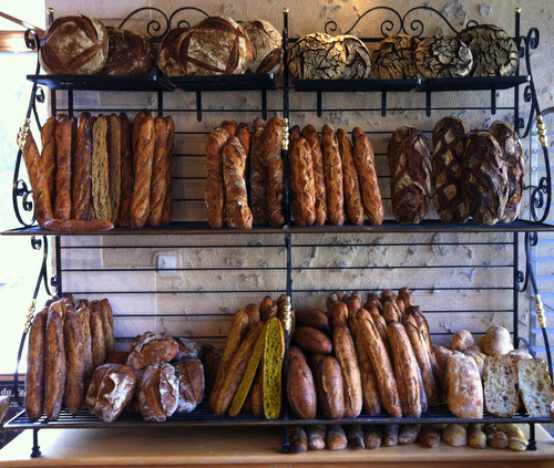A glorious library of breads made at Foricher. The yellow one is flavoured with curry. Many different flours were used including rye and buckwheat.
