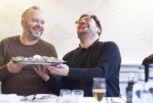 red Berkmillar enjoying a joke with Craig Sandle of Galvin's Pomadour Restaurant