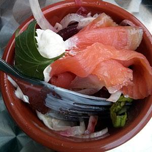Smoked salmon with lemon mayo and salad. StreetBar, Edinburgh.