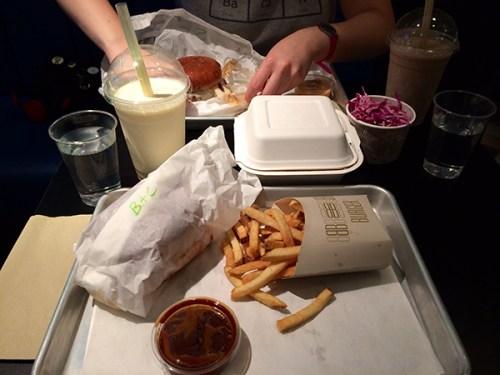 Burgers, chips and milkshake too.