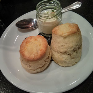 Cheese scones. With creame cheese and chives. Mmm!