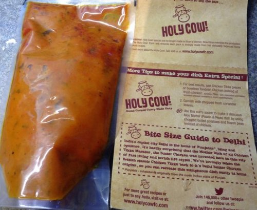 Holy cow sauces come in pouches with the instructions inside