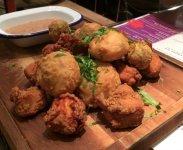 Mixed pakoras: veggie, fish and meat