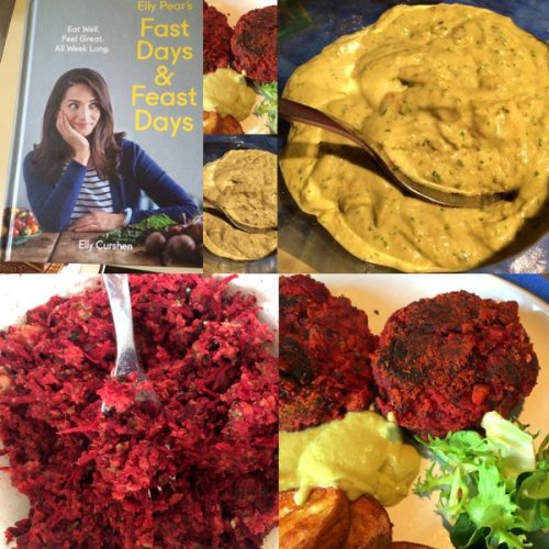 Fasting and Feasting -Beetroot burgers served with smoky paprika sweet potatoes and avocado tarragon mayonnaise