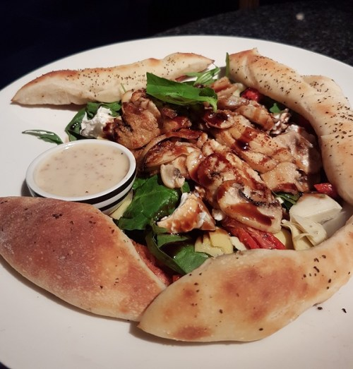 Bosco salad a mixture of crunch leaves, mushrooms, artichoke and mozzarella. Pizza Express, Edinburgh.
