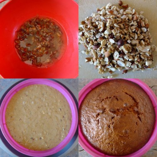 Soaking dates, chopping nuts, batter, and finally, the cake.