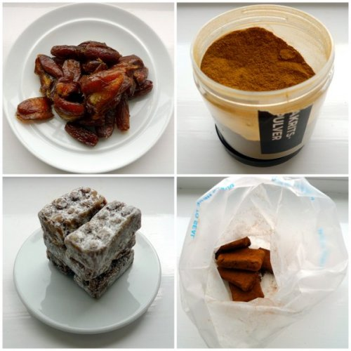 Dates, licorice powder, a tower of snacks and a quick way of covering snacks in, for example, cocoa.