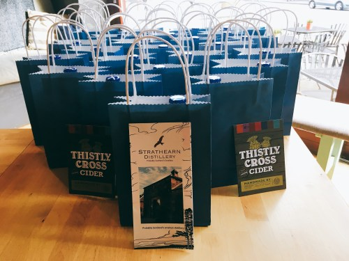 Goody bags from Strathearn Distillery and Thistly Cross Cider