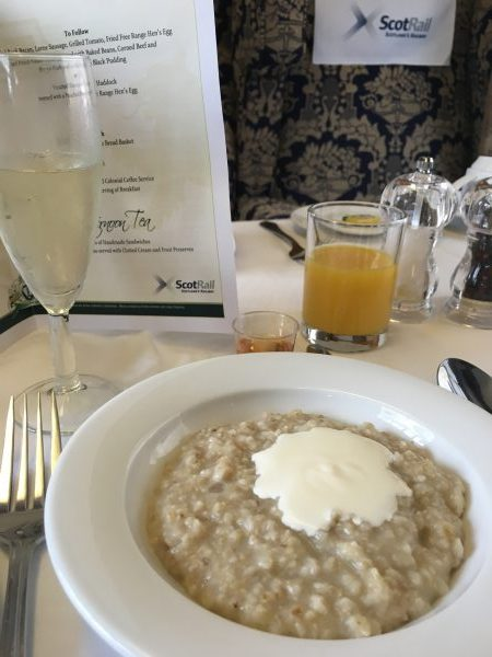 Porridge served with a nip of Scotch Whisky