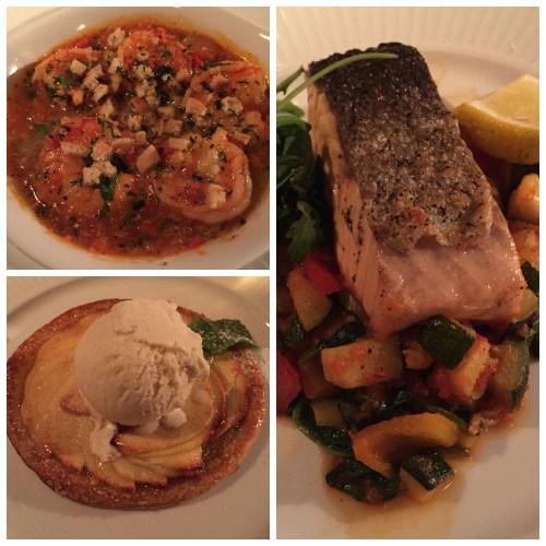 Nicki Cote Brasserie prawns salmon tarte tatin