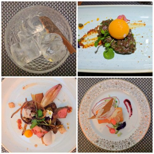 Gin - we're in the fright place for ut, venison tartare, deconstructed Wellington and gin-cured salmon. All good, all interesting.
