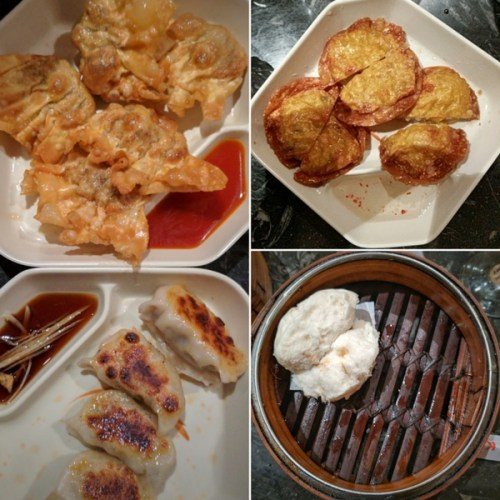 Beef wonton and pork potstickers, flash-fried crab cakes and char sui bun. Oh yea.