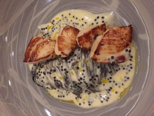 Scallops, squid ink linguine & herring butter caviar sauce